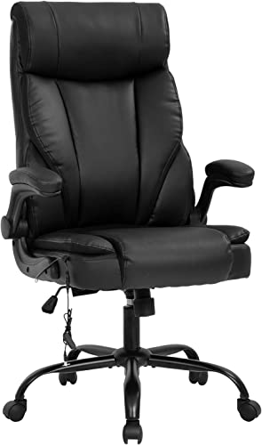 BestOffice Ergonomic Desk PU Leather Computer Lumbar Support Flip up Armrest Task Rolling Swivel Executive Chair