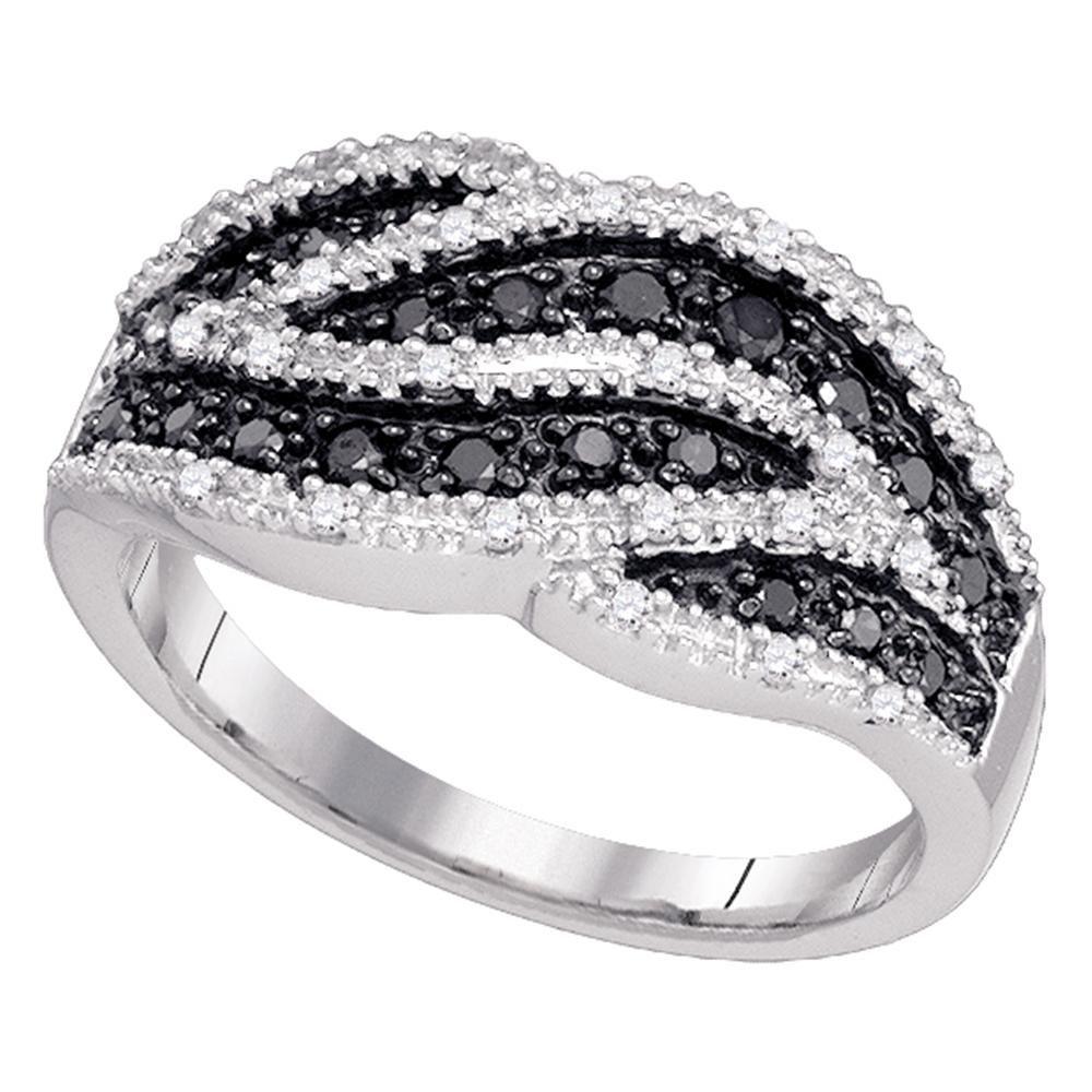 10k White Gold Black Diamond Cocktail Ring Stripe Fashion Band Round Cluster Style Fancy 1/2 ctw Size 6