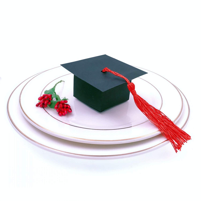 Bo/îte de Graduation Bo/îtes de Cadeaux pour F/ête de Remise des Dipl/ômes Cadeau de Faveurs JZK 50 x Noir Bo/îte de Bonbons Chapeau de Graduation de Papier Boite de Bonbons de Casquette avec Pompon Rouge
