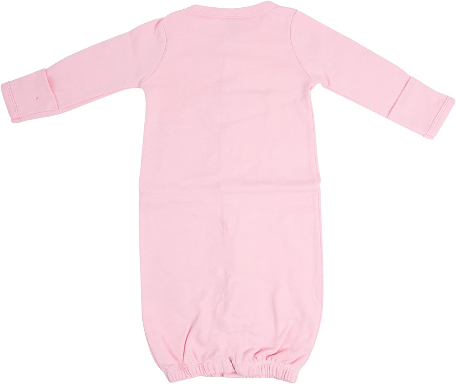 0-6 Months, Pink Laughing Giraffe Baby Long Sleeve Convertible Gown with Fold-Over Mittens