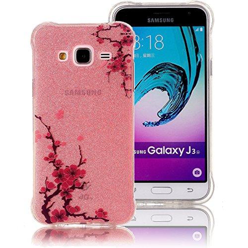 Galaxy J3 (2016) Funda, Sunroyal Carcasa Silicona TPU Gel para Samsung J3 (2016) Semi-Transparente Glitter Ultra Slim Concha Anti-Arañazos Amortiguar los Choques Borrar Espalda Caja del Teléfono Diseñ B-10