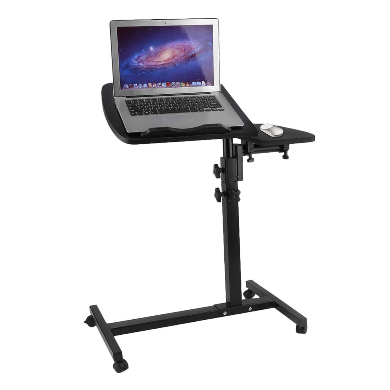 Homgrace Tavolino Porta PC Pieghevole con 4 Ruote, Tavolo Portatile Altezza Regolabile 60 cm-90cm, Laptop Desk con 2 Pannelli (Bianco) ALOMEKW