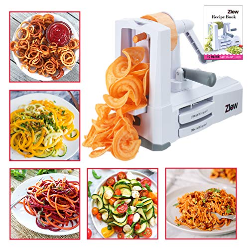 10-Blade Spiralizer Vegetable Slicer Strongest Heaviest Duty Veggie Pasta Spaghetti Maker for Healthy Low Carb/Paleo/Gluten-Free Meals with Blade Caddy, Container, Lid & Exclusive Recipe Book by Zlew by ZLEW (Image #1)