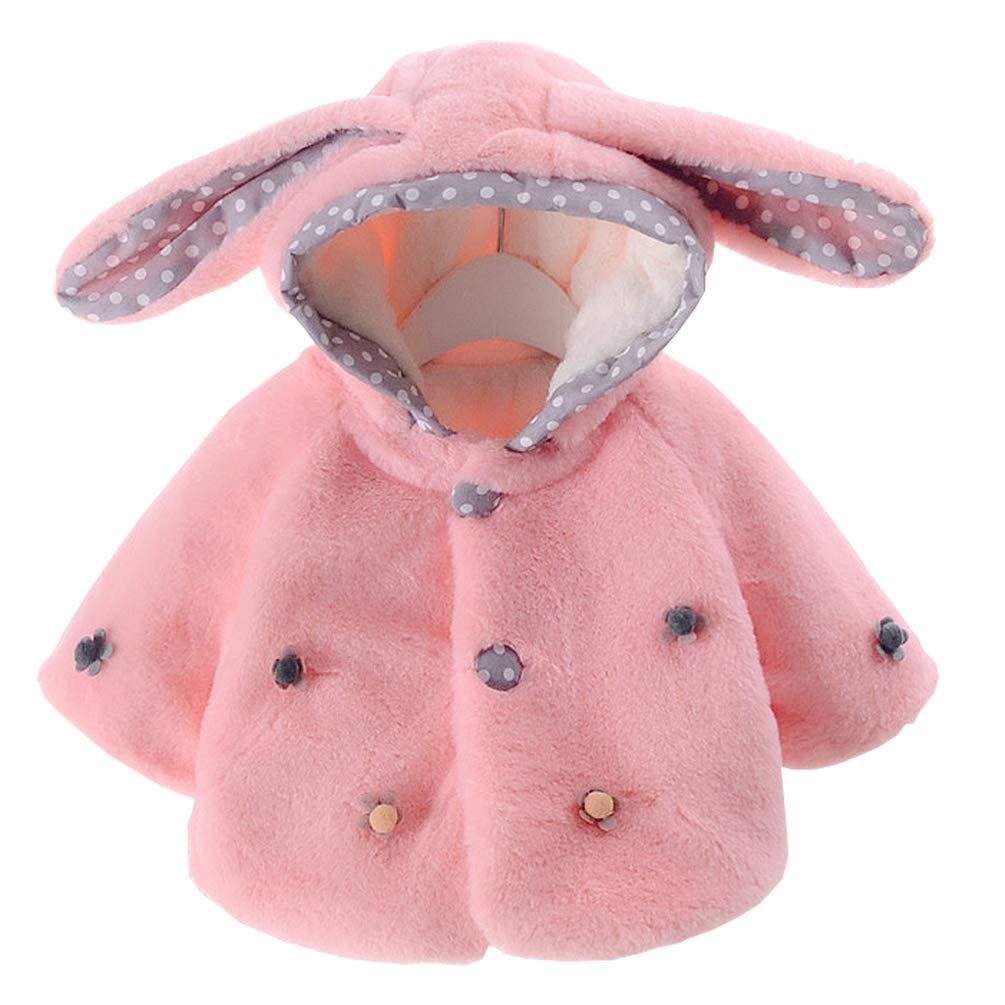 OKSakady Newborn Infant Baby Girl Faux Fur Hooded Coat Jacket Cape Cloak Poncho