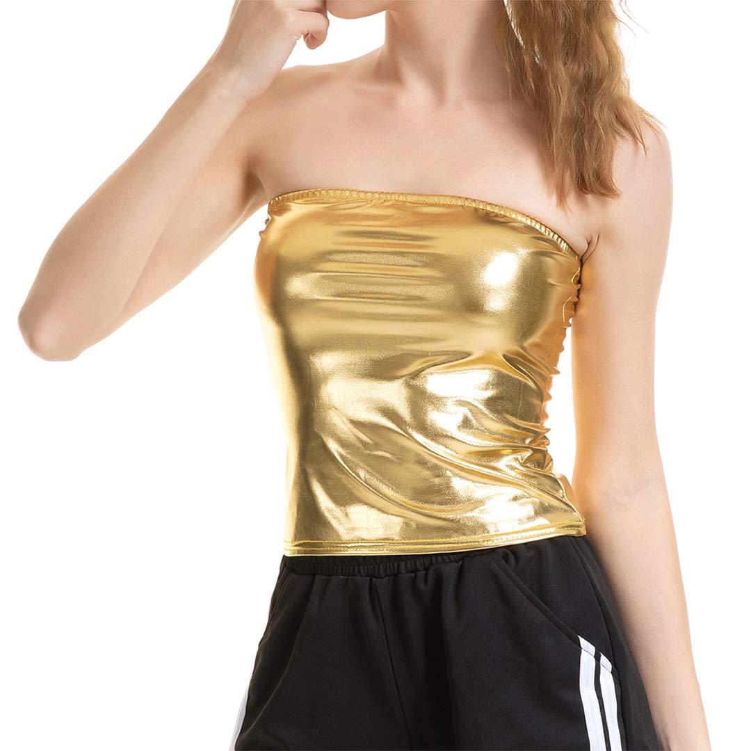 c39bc96e551 Cindaisy Women Metallic Off Shoulder Crop Top Rave Club Dance Bandeau Tube  Tops at Amazon Women s Clothing store
