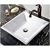 VCCUCINE White Square Above Counter Porcelain Ceramic Vessel Vanity Sink Art Basin