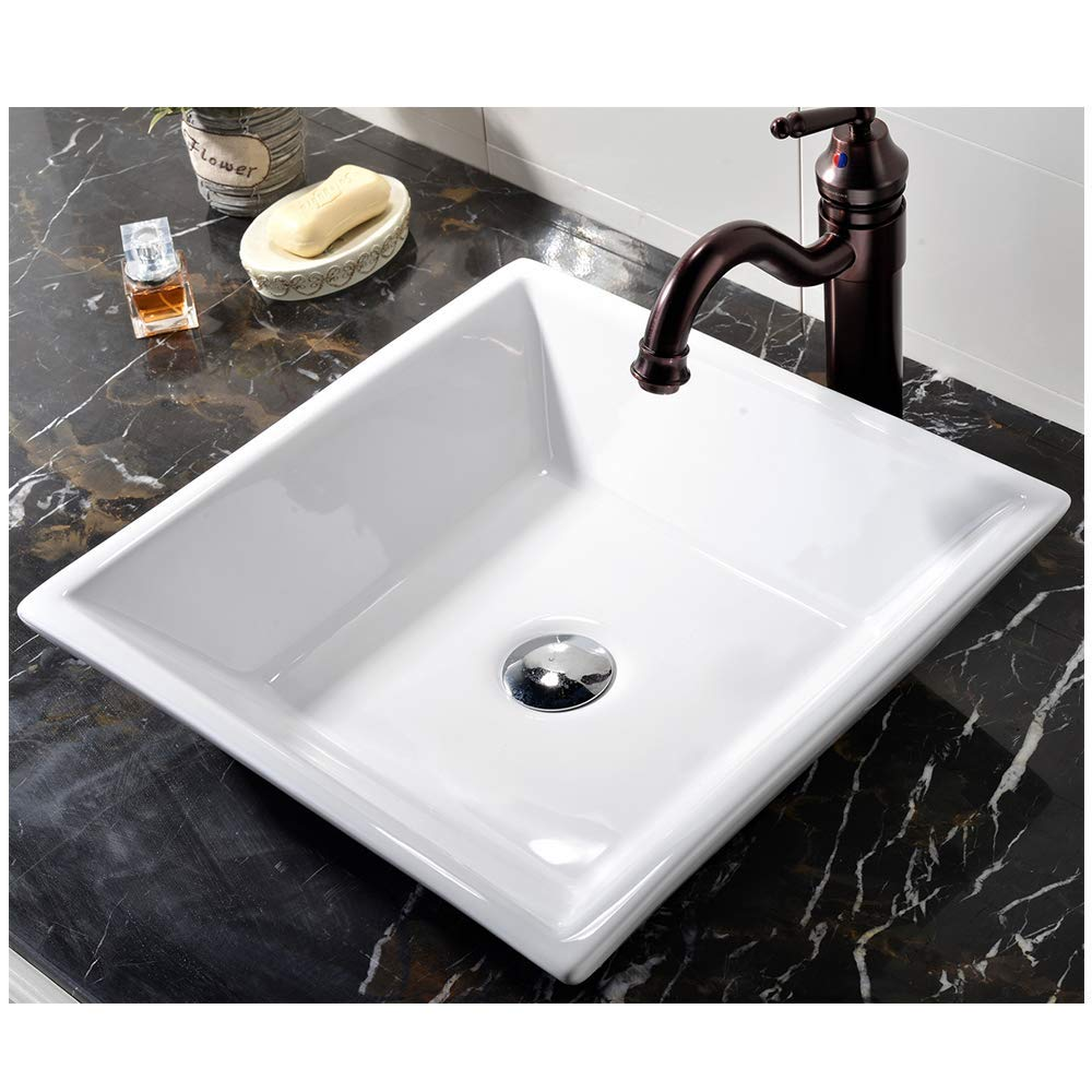 VCCUCINE White Square 16.54 X 16.54 Bathroom Porcelain Ceramic Vessel Sink, Countertop Sink for Lavatory Vanity Cabinet