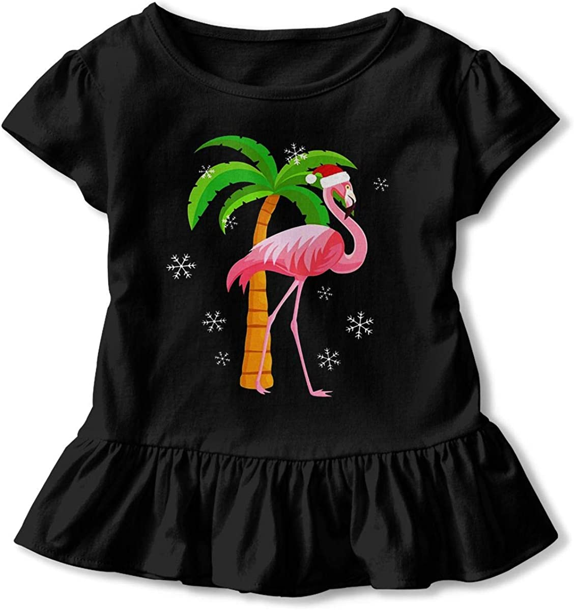 Red Flamingo with Christmas Hat Baby Skirts Adorable Kids T Shirt Dress Cotton Flounces Outfits