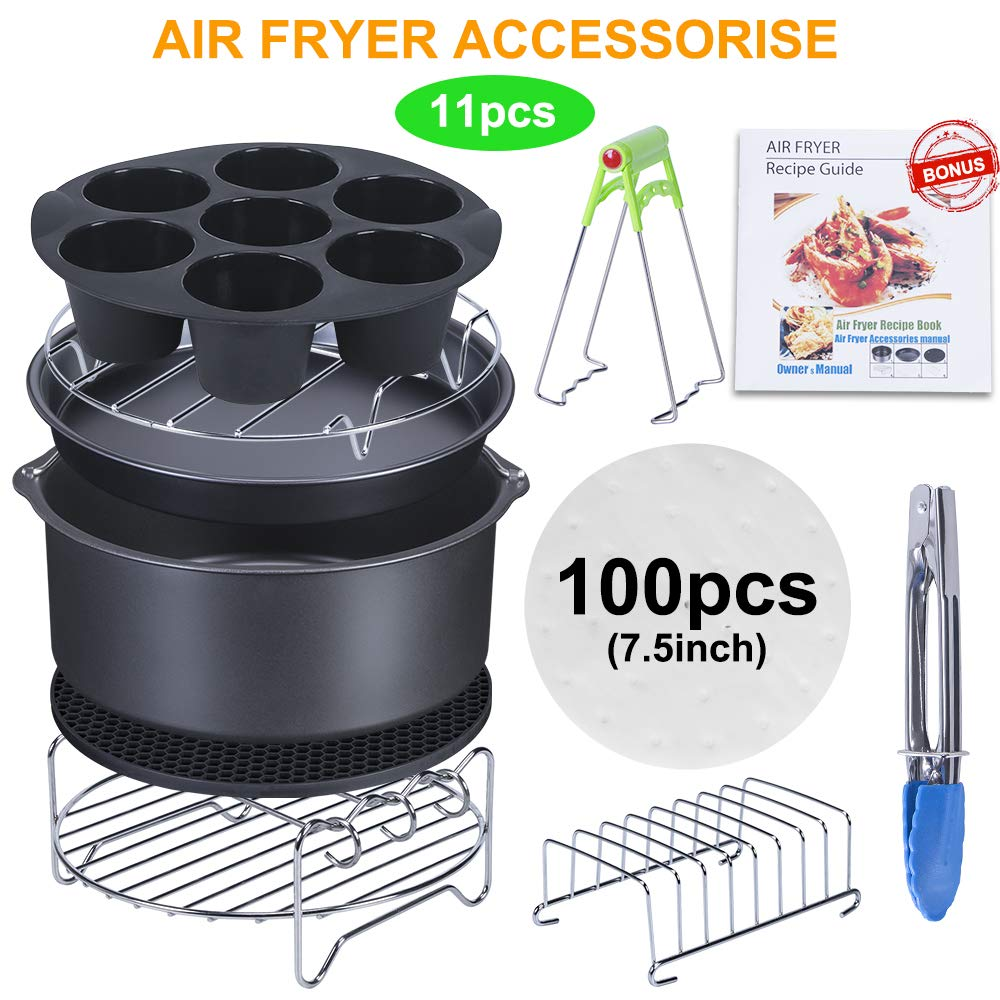 7 Inch Air Fryer Accessories, Best Hot Deep Set of 11 Fit all 3.7Qt-5.3Qt, Air Fryers, FDA Approved, BPA Free