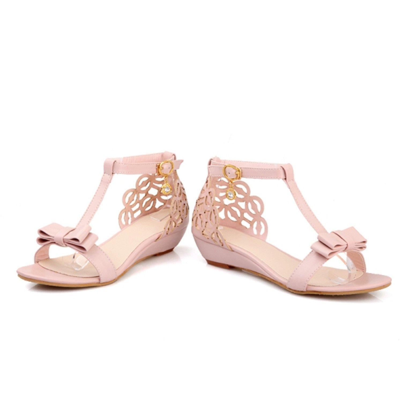 baqijian Plus Size Women Sandals Med Heel Summer Buckle Strap Pumps Women Shoes Apricot Pink White
