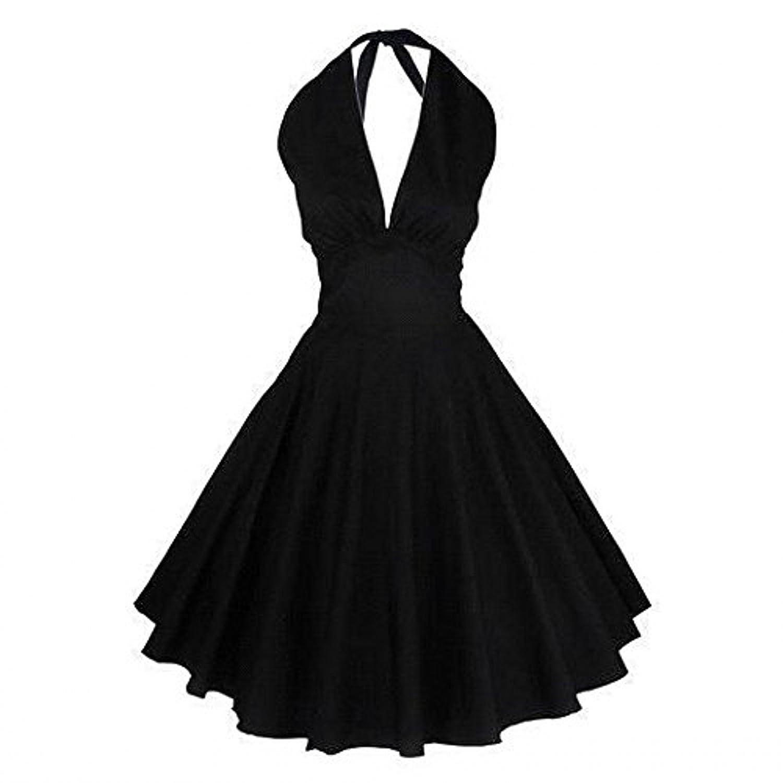 Babyonline® Damen Halter Sommer Retro Vintage Retro Kleid Faltenrock Ballkleid