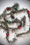 Foam Bead Tinsel Garland Red Green Silver Metallic Finish Country Christmas Holiday Home D
