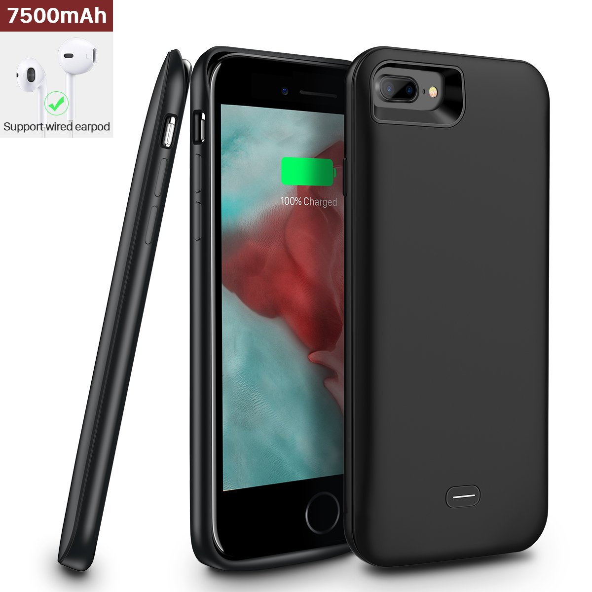 iphone 7 Plus/iphone 8 Plus Battery Case,[7500mAh] iphone 7 Plus/8 Plus protective battery case,Portable Rechargeable Protective Charging Case Slim for Apple iphone 7/8 Plus,Support Lightning Earphone