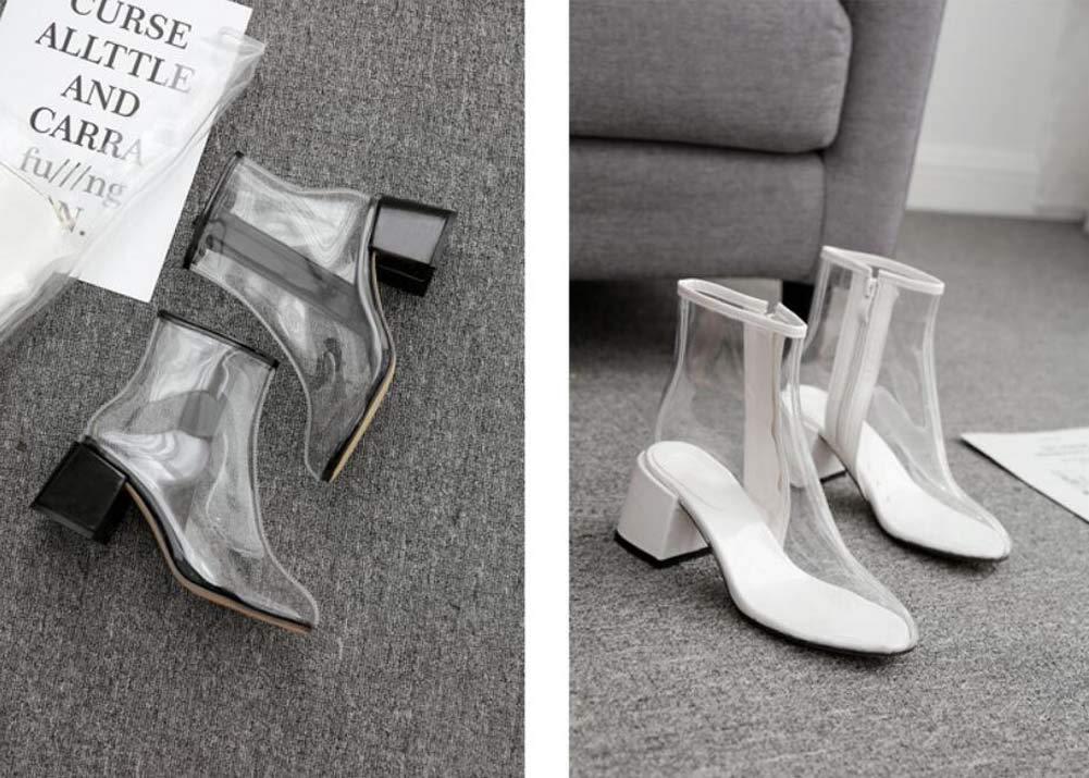 Botines Transparentes Mujer Moda 12Cm Grueso Tac/ón Botas De PVC Cremallera Casual Corte Zapatos UE Tama/ño 34-40