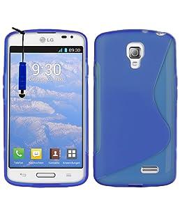 VCOMP® LG F70 D315/ LTE: Coque Silicone Gel Motif S-Line + Stylet - Bleu