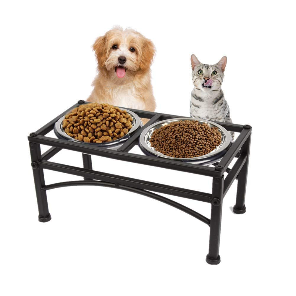 M ZZQ Double Stainless Steel Cat Dog Puppy Pet Bowls Stand,Water Food Feeder Pet Dish Holders