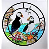 Decorative Stained Glass Static Window Clings in a Puffins Design. by Winged Heart presented by Celtic Glass Designs