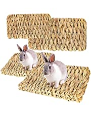 RoadLoo Zwierzę łóżka do żucia, 4 sztuki naturalne tkane maty z trawy ręcznie tkane bezpieczne jadalne króliczek pościel gniazdo dla świnki morskiej królika chomika papuga małe zwierzęta (2 szt. mały rozmiar i 2 duży rozmiar)