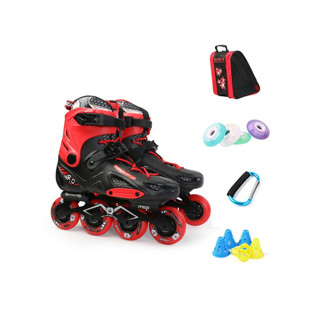Ailj インラインスケート、 大人用1列スケート 男性と女性の4ラウンドローラースケート プロスケート靴 コンプリートセット フラッシュ付き 2色 (色 : 赤, サイズ さいず : 43 EU/10 US/9 UK/26.5cm JP) 赤 43 EU/10 US/9 UK/26.5cm JP