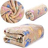 Dog Blanket, kiwitatá Cat Warm Sleeping Cushion Mat Soft Flannel Washable Bed Blanket Sofa Pad for Small Animals (Brown)