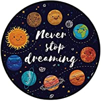 Printing Round Rug,Quote,Outer Space Planets and Star Cluster Solar System Moon and Comets Sun Cosmos Illustration Mat Non-Slip Soft Entrance Mat Door Floor Rug Area Rug For Chair Living Room,Multi