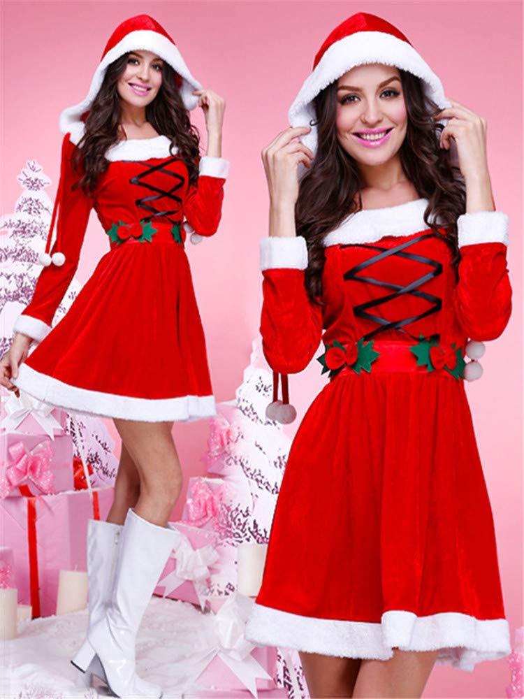 Yunfeng weihnachtsmann kostüm Damen Weihnachten Kleidung Erwachsene tragen Gold samt Kleidung Weihnachtskostüm Kostüm Erwachsene Weihnachtsfeier Cosplay Kostüm