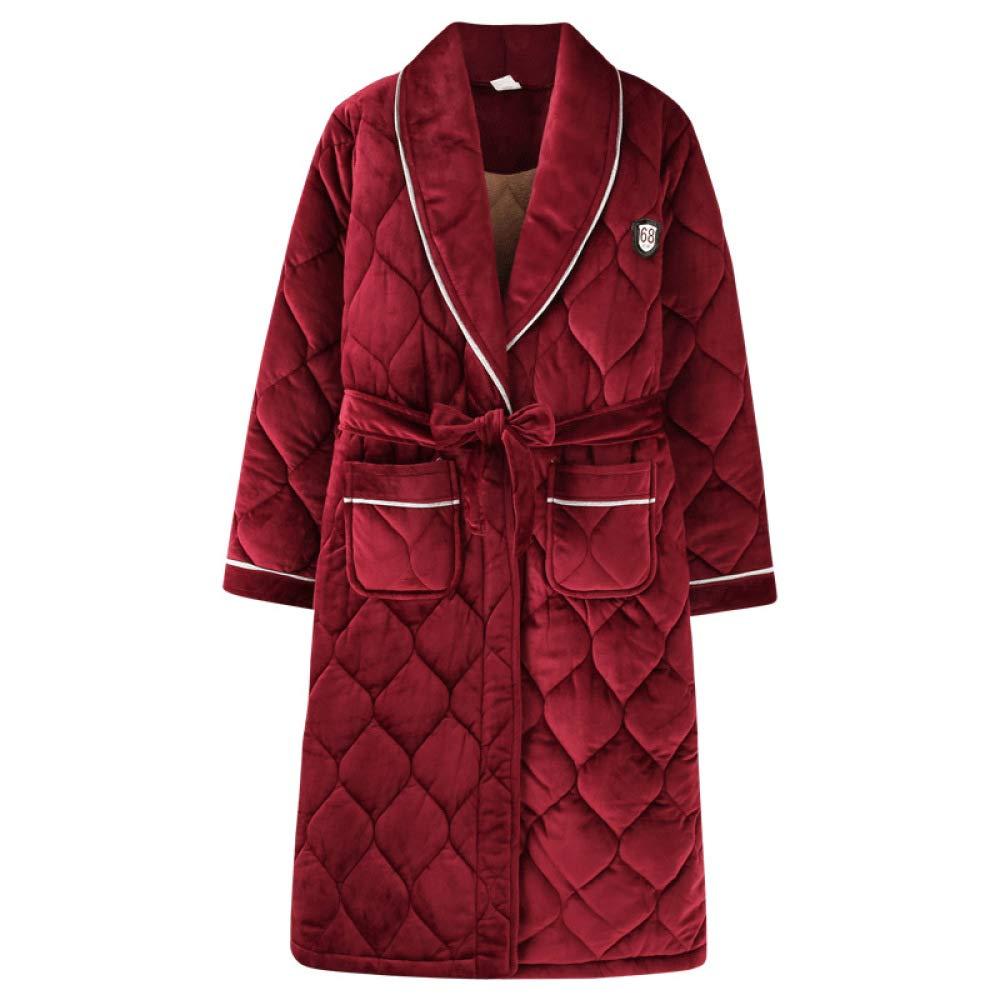 Red LIULIFE Women's Warm Dressing Gown Home Bathrobe Autumn Winter Cotton Pajamas Long Sleeve Sleepwear