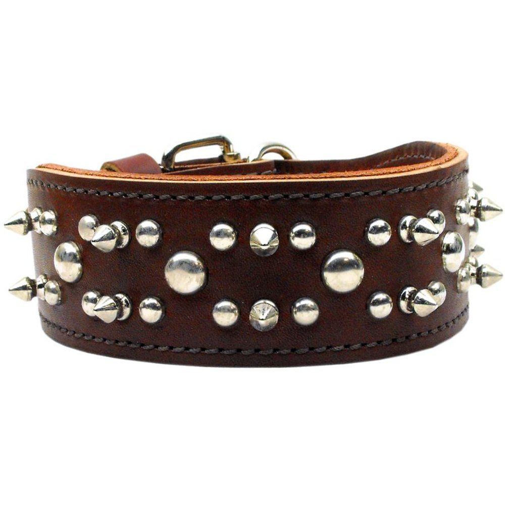 25\ Mirage Pet Products Rodeo Leather Burgundy Dog Collar, 25