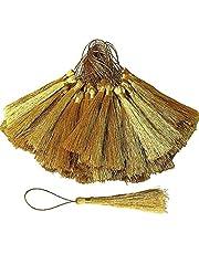 100 PCS Gold Tassels, 13cm/ 5 inch Mini Craft Tassels Silky Floss Bookmark Tassels with Loops for Jewelry Making, Handmade DIY Projects, Souvenir