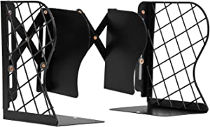 MerryNine Creative Telescopic Metal Grid Bookends, Adjustable Book Holder for Desktop Organizer Storage, Stretching Book Stand for Home Office Decoration (Black)