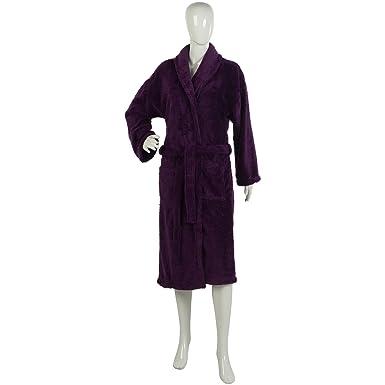 70bdcc52dd Unisex Bright Dressing Gown Soft Polyester Coral Fleece Plain Bath Robe  Large (Purple)