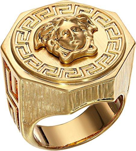 Versace Unisex Greca Medusa Ring Gold 25 (US - Men Versace