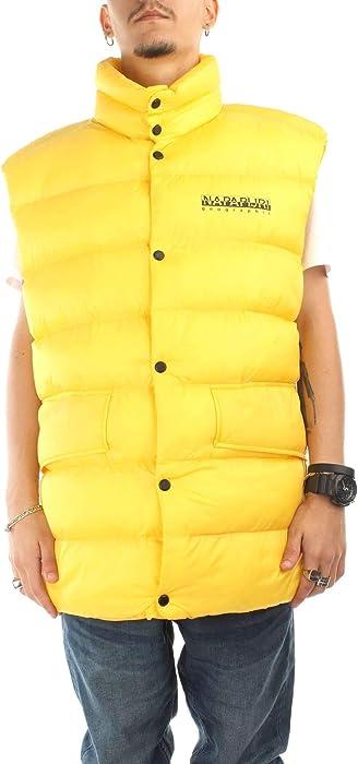NAPAPIJRI TRIBE Uomo - Piumino smanicato in nylon giallo con logo ... 480f1a678b3