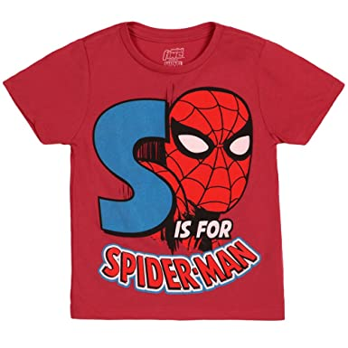 2f1771a67 Amazon.com: Marvel Spiderman S is for Spiderman Kids T-Shirt Red ...