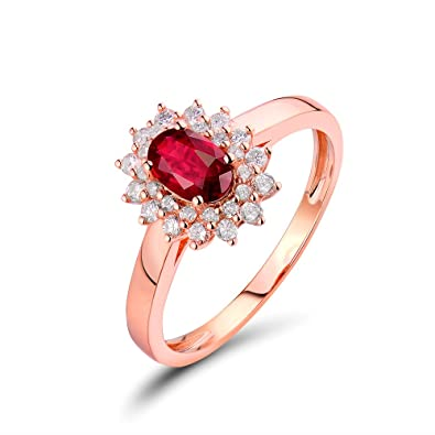 d8f41b79127 Image Unavailable. Image not available for. Color  Lanmi Jewelry Sets Natural  Diamond 14K Rose Gold Oval Ruby Engagement Bridal Rings for Women