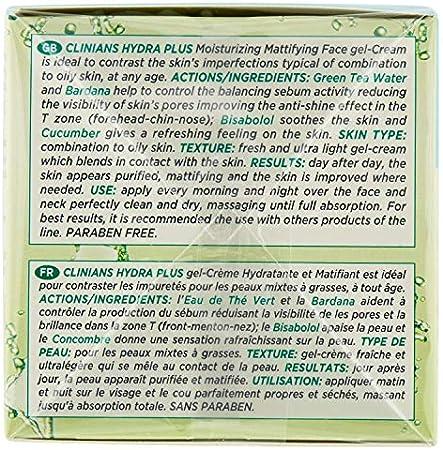 CLINIANS HYDRA PLUS crema-gel facial hidratante opacificante para pieles mixtas o grasas, con Pepino y Agua de Té Verde, 50 mL
