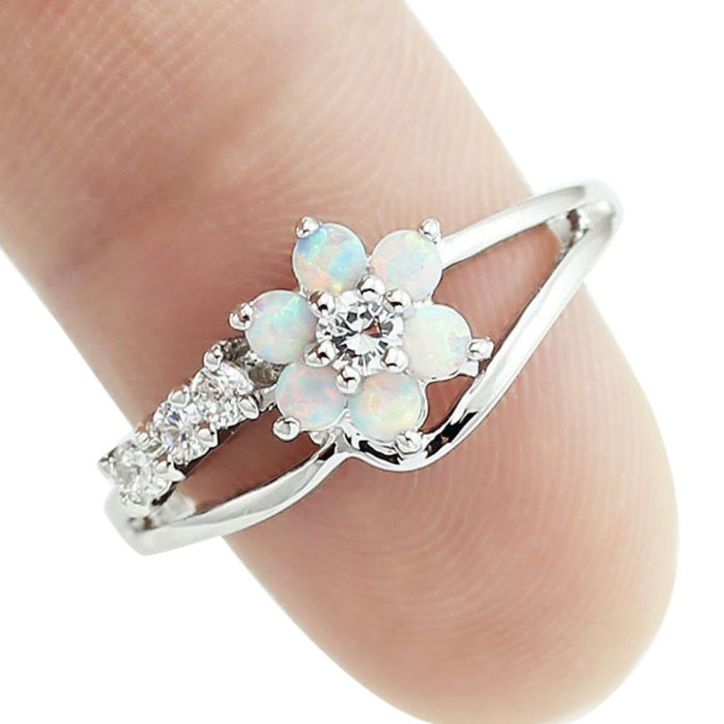 OldSch001 Rings for Women,Fashion Opal Gemstone Plum Ring Blue White (White, 7)