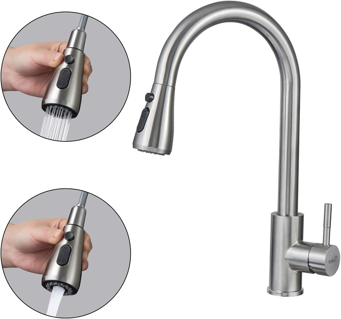 3 Mode Single Level Stainless Steel Kitchen Sink Faucets with Pull Down Sprayer Robinet de cuisine /à tirette