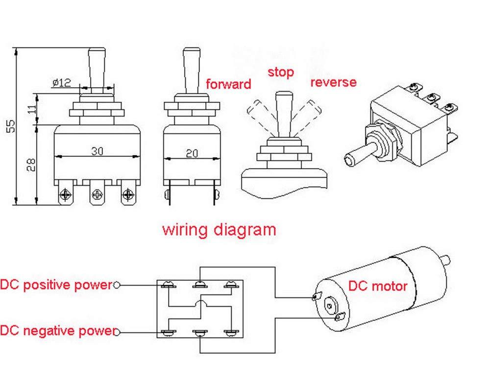 DC motor manually reversing switch knob Toggle Switch MAX 15A 220V 250W