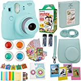 Fujifilm Instax Mini 9 Instant Camera Ice Blue + Fuji Instax Film Twin Pack (20PK) + Blue Camera Case + Frames + Photo Album + 4 Color Filters More Top Accessories Bundle