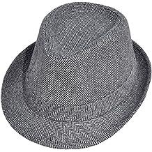 Simplicity Men Women Chevron Print Felt Hat Trilby Wool Fedora Cap