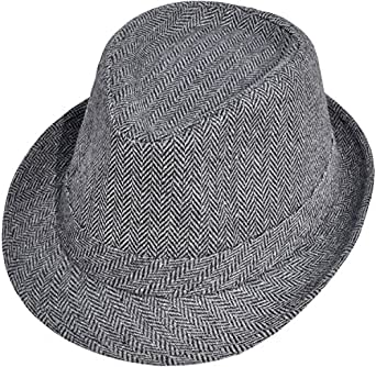 Simplicity Unisex Structured Gangster Trilby Wool Fedora Hat, 3071_Bk/Charcoal