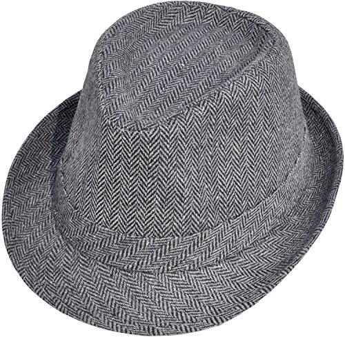 (Simplicity Unisex Structured Gangster Trilby Wool Fedora Hat, 3071_Bk/Charcoal,One Size)