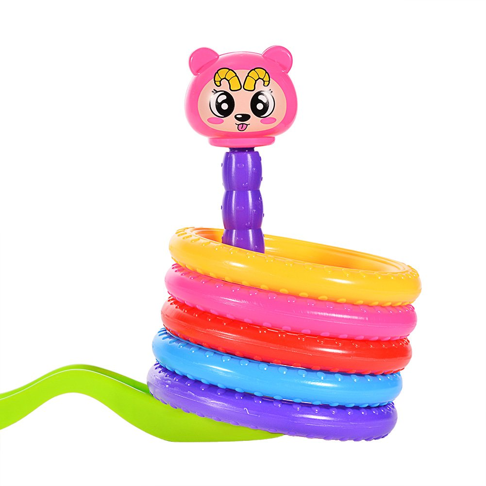 ThinkMax Plastic Cartoon Ring Toss Game Kids Family Quoit Game with 5 Rings