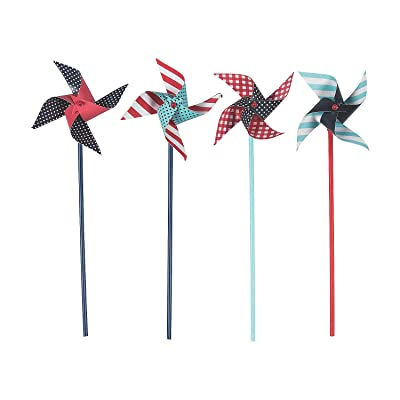 Fun Express - Red, White & Blue Pinwheels (3dz) for Fourth of July - Toys - Value Toys - Pinwheels - Fourth of July - 36 Pieces: Kitchen & Dining