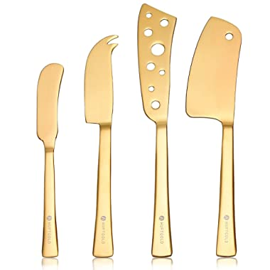 HUFTGOLD 4-Piece Cheese Knife Set, Complete Stainless Steel Gold Cheese Knives Collection, Cheese Cutter Cutlery Set…