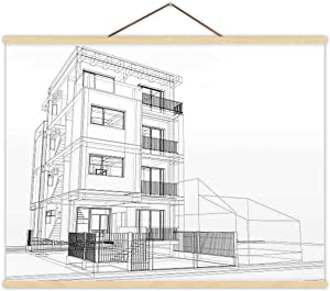 Wire-Frame of Modern Building - Illustration Drawing - Art Product,Magnet Print Poster Building Exterior for Home 12''W x 8''H