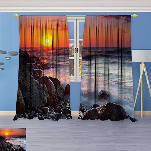 Thermal Insulated Blackout Window Room Pebble ach with Waves Horiz Summer Dawn Sun down Landscape Top Extra Long Curtains Set of 2 Panels 72W x 84L Inch - Horiz Filter