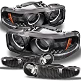 For GMC Sierra 1500 Yukon Denali Black Halo Projector LED Headlights + Black Bumper Signal Lamps