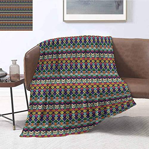 Geometric Luxury Special Grade Blanket Retro Eighties Design Vibrant Color Scheme Geometrical Lines Half Circles Vintage Multi-Purpose use for Sofas etc. W60 x L50 Inch Multicolor